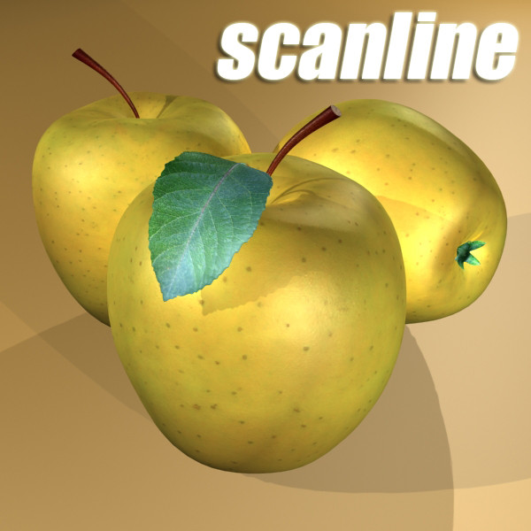 yellow apple high detail resolution 3d model 3ds max fbx obj 132737