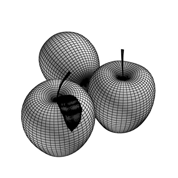 yellow apple high detail resolution 3d model 3ds max fbx obj 132738