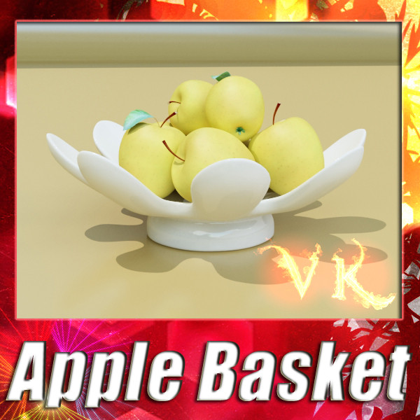 yellow apples in bowl 3d model 3ds max fbx obj 132740