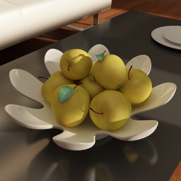 yellow apples in bowl 3d model 3ds max fbx obj 132741