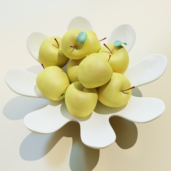 yellow apples in bowl 3d model 3ds max fbx obj 132743