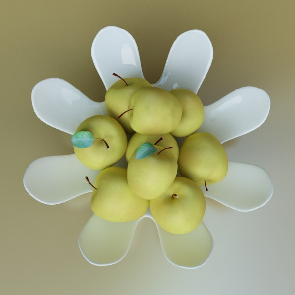 yellow apples in bowl 3d model 3ds max fbx obj 132744