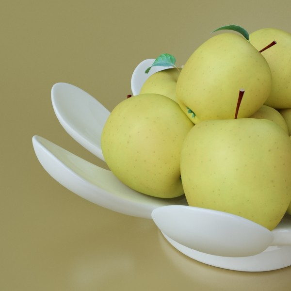 yellow apples in bowl 3d model 3ds max fbx obj 132745