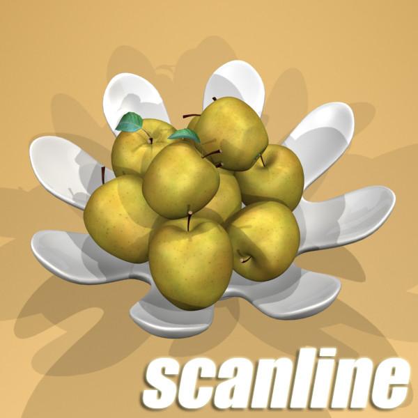 yellow apples in bowl 3d model 3ds max fbx obj 132746