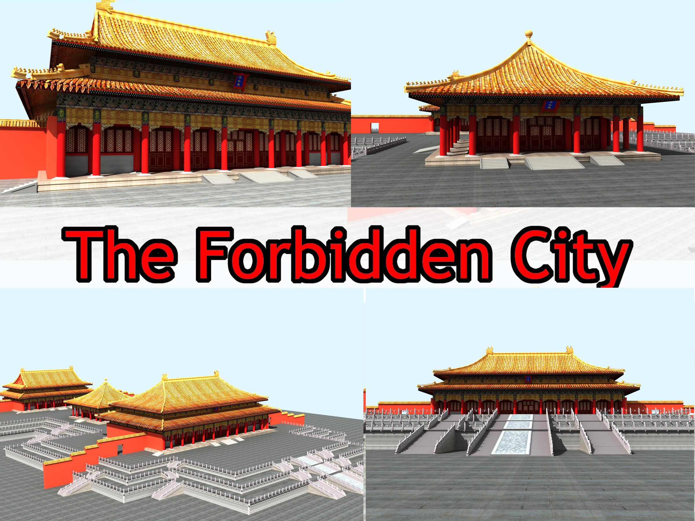 the forbidden city — three big place 3d model max 127899