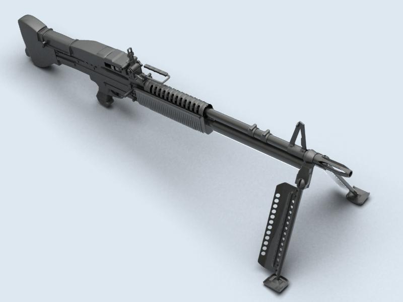 machine gun m60 3d model 3ds max fbx obj 146397