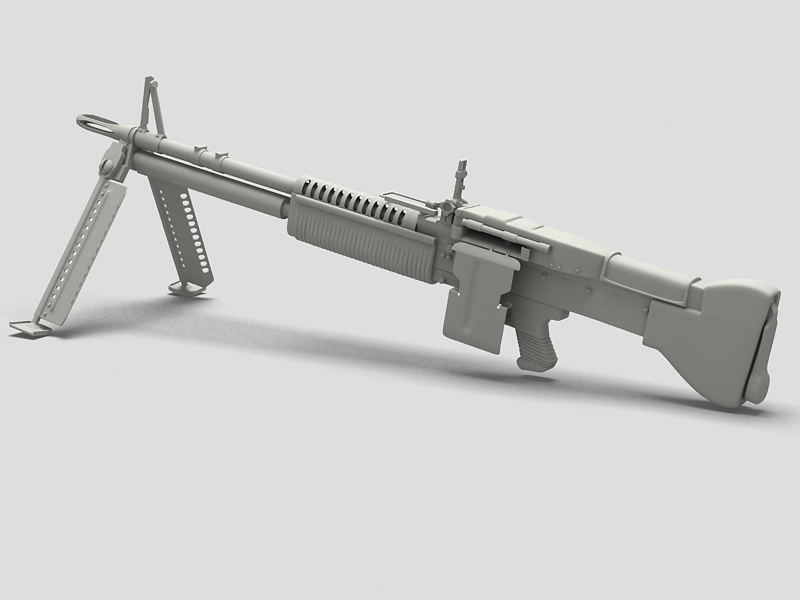 machine gun m60 3d model 3ds max fbx obj 146400