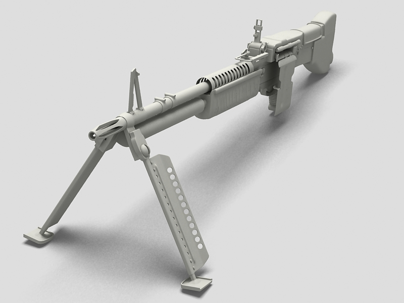 machine gun m60 3d model 3ds max fbx obj 146401