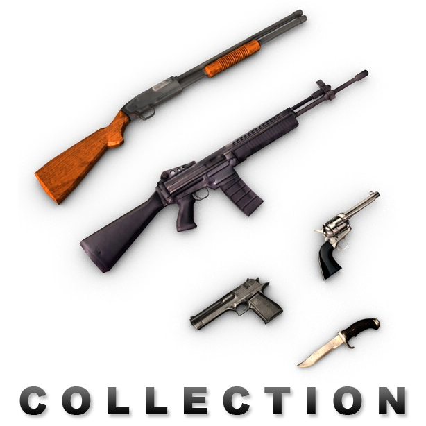 modern weapons collection 3d model 3ds max fbx c4d obj 138738