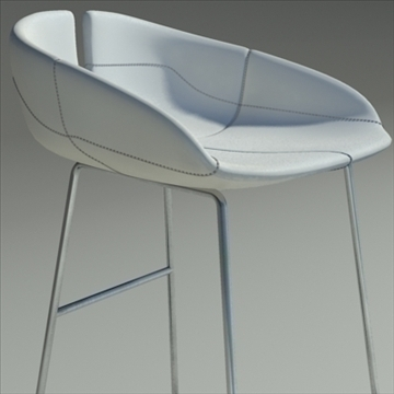 fjord bar stool low white 3d model 3ds max dwg fbx obj 88563