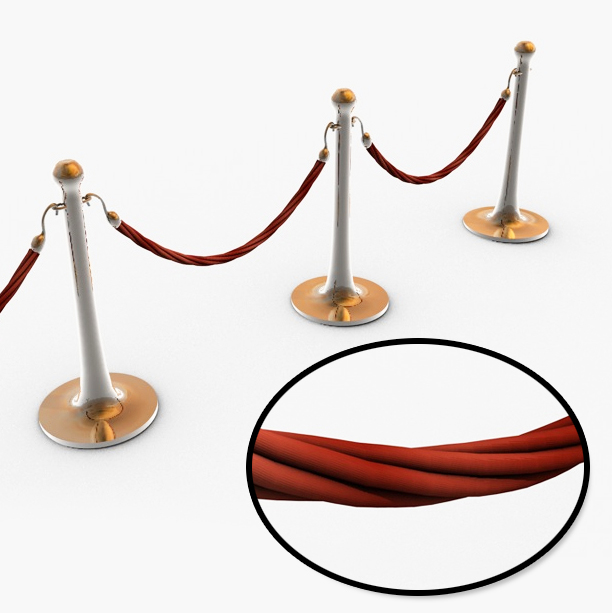 stanchions and rope barrier hd 3d model 3ds max fbx c4d obj 138701