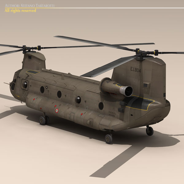 ch-47 esercito italiano helicopter 3d model 3ds dxf fbx c4d dae obj 118594
