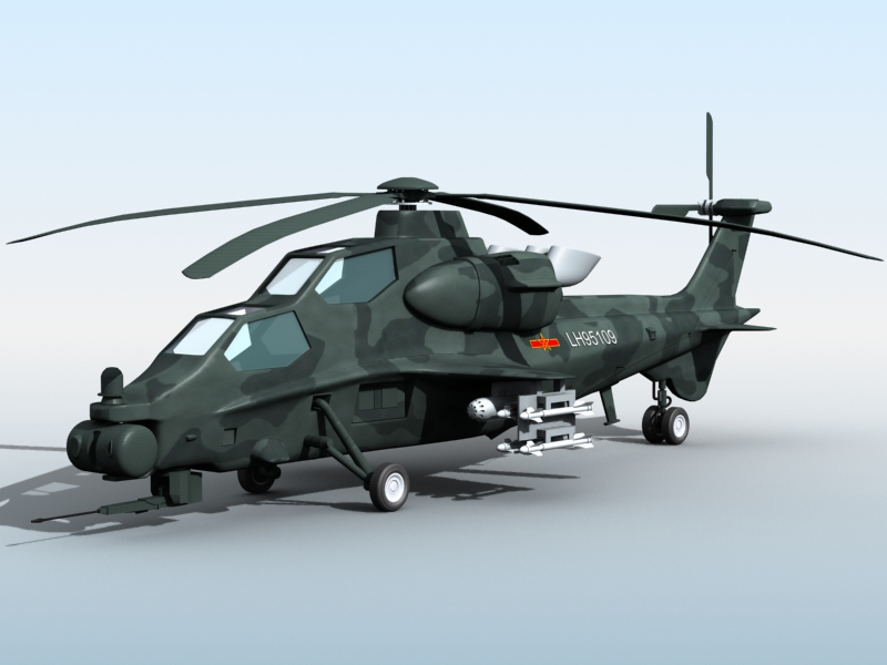 z-10 chinese attack helicopter 3d model 3ds max fbx obj 123373