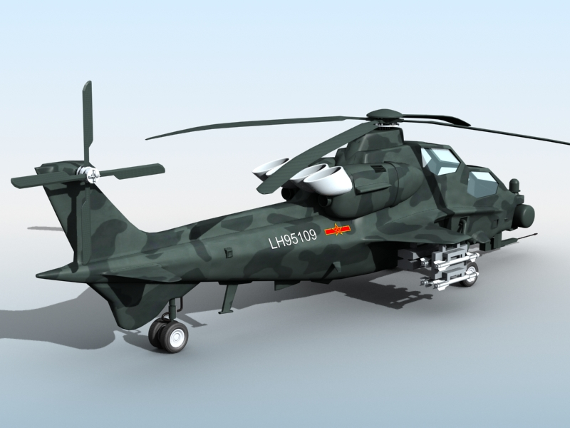 z-10 chinese attack helicopter 3d model 3ds max fbx obj 123374