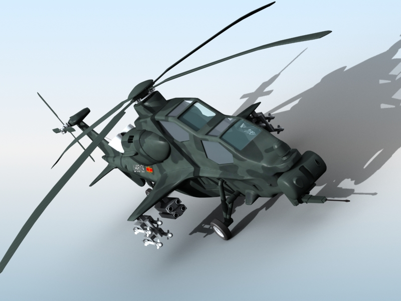 z-10 chinese attack helicopter 3d model 3ds max fbx obj 123376