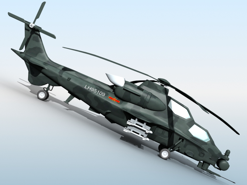 z-10 chinese attack helicopter 3d model 3ds max fbx obj 123377