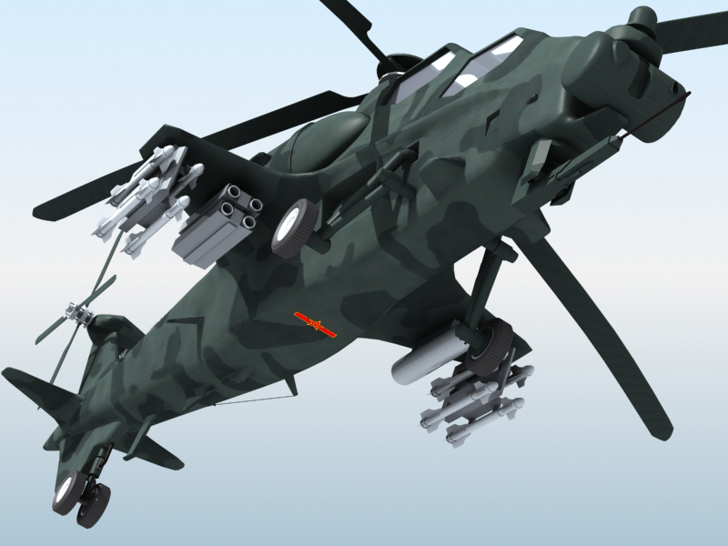 z-10 chinese attack helicopter 3d model 3ds max fbx obj 123378