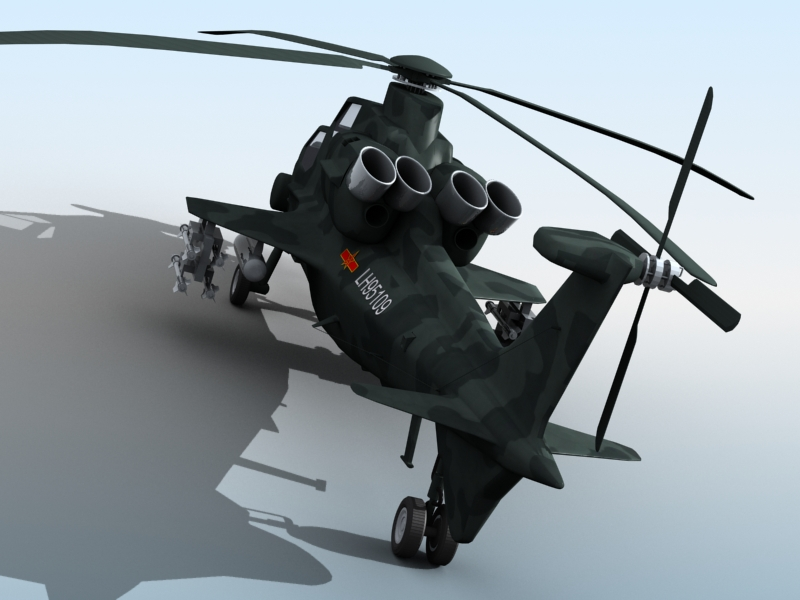 z-10 chinese attack helicopter 3d model 3ds max fbx obj 123379