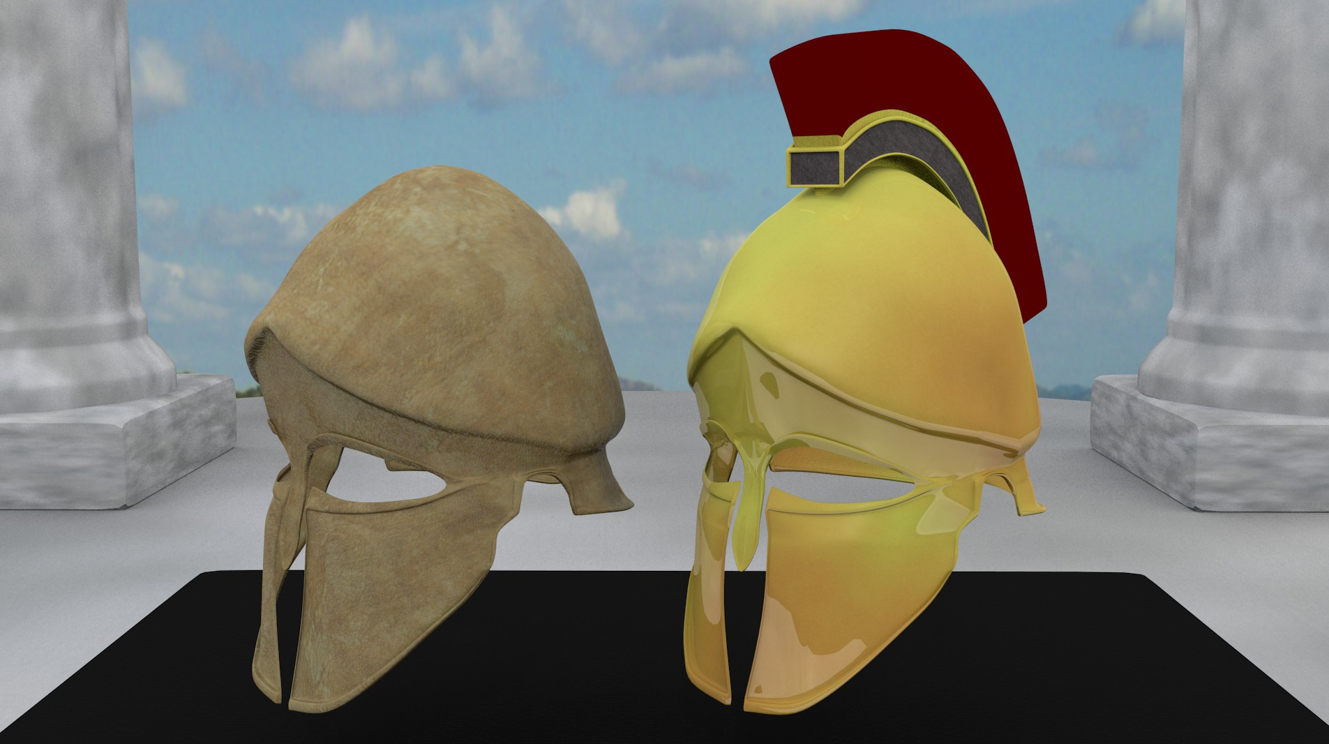 ancient greek corinthian helmets 3d model fbx blend dae obj 118115