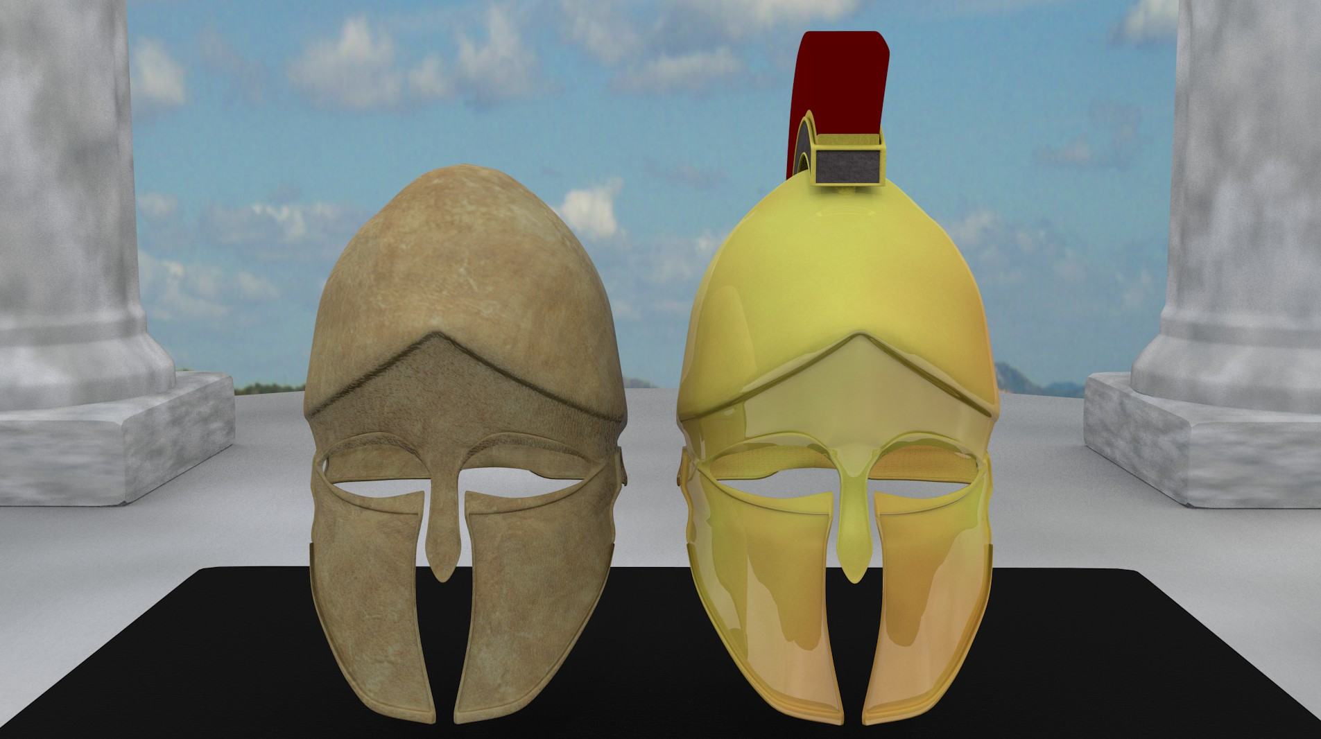 ancient greek corinthian helmets 3d model fbx blend dae obj 118116