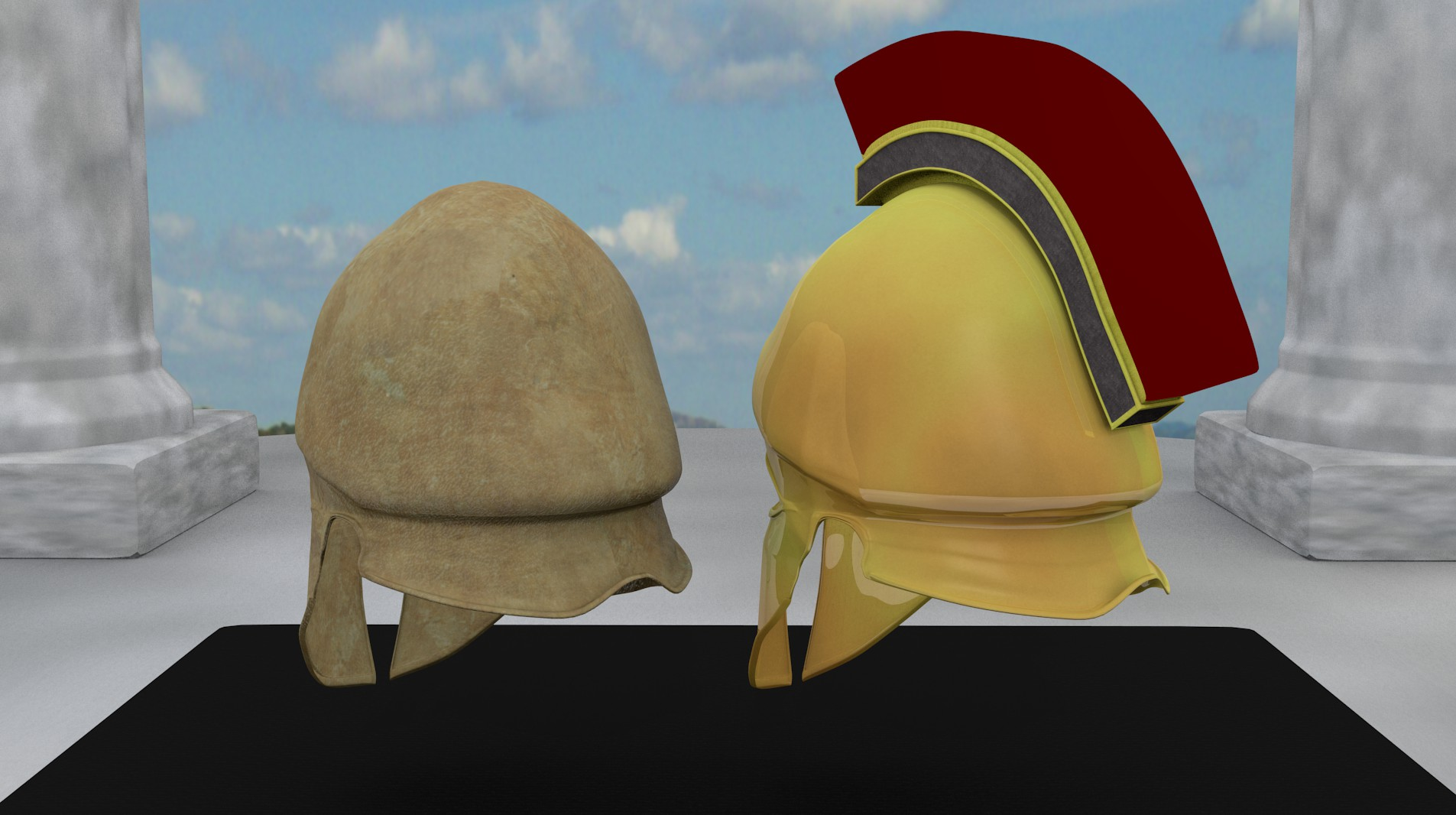 ancient greek corinthian helmets 3d model fbx blend dae obj 118117