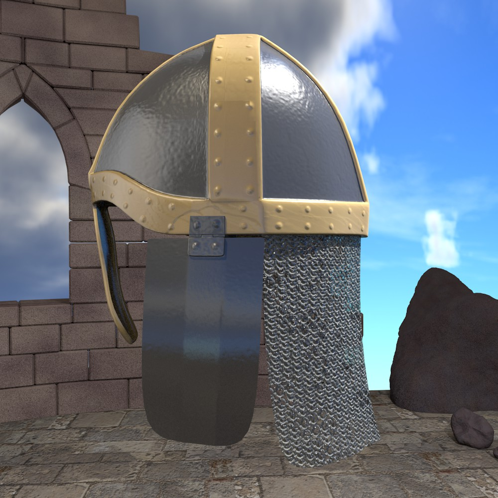 medieval knight helmet 3d model fbx blend dae obj 118789