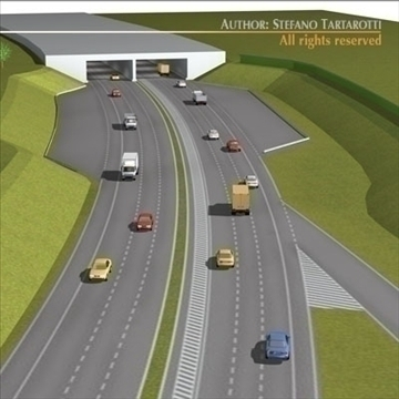 highway scene 3d model 3ds dxf c4d obj 104376