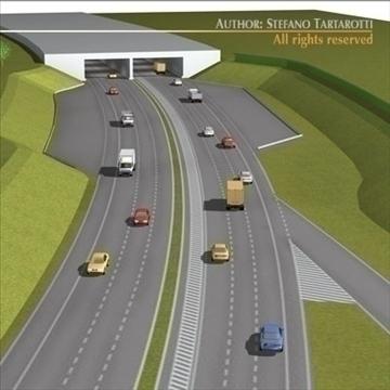 autocesta scena 3d model 3ds dxf c4d obj 104376