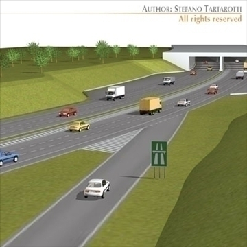 highway scene 3d model 3ds dxf c4d obj 104379