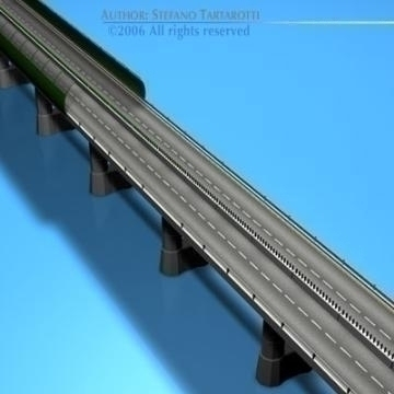 highway viaduct 3d model 3ds dxf c4d obj 78395