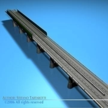 highway viaduct 3d model 3ds dxf c4d obj 78396