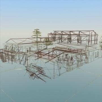 celtniecības komplekss ar pagalmu 3d modelis 3ds max fbx lwo ma mb hrc xsi faktūra obj 107679