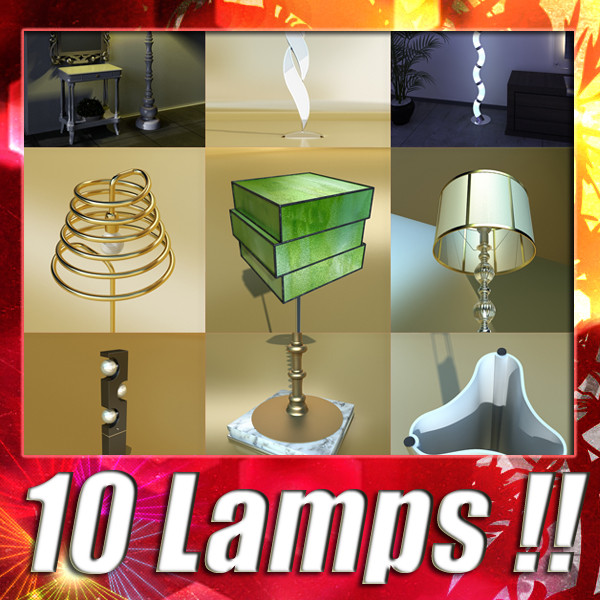 10 modern floor lamps 3d model 3ds max fbx obj 135280