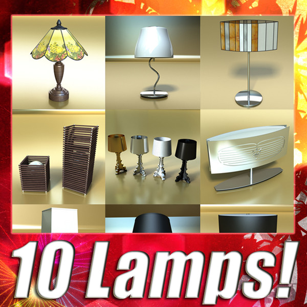 10 table lamp collection 3d model 3ds max fbx obj 135474