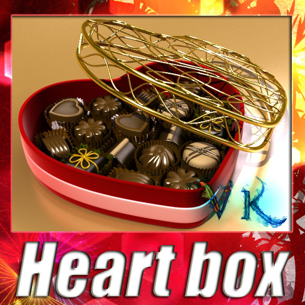 chocolate candy pieces in heart box 8 3d model 3ds max fbx obj 132502