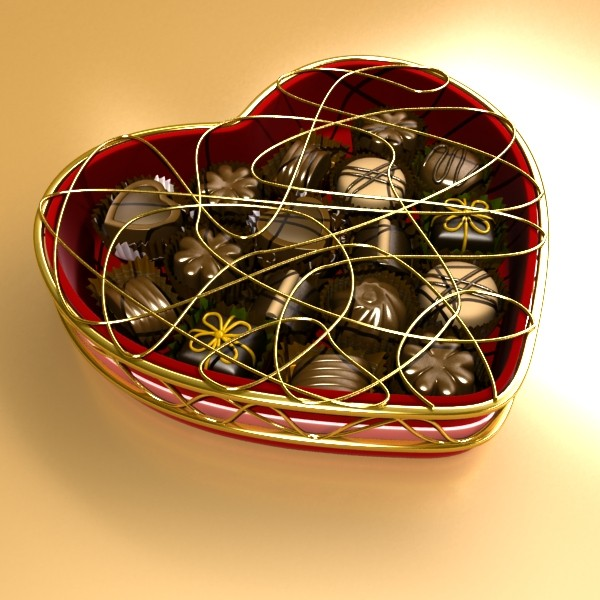 chocolate candy pieces in heart box 8 3d model 3ds max fbx obj 132503