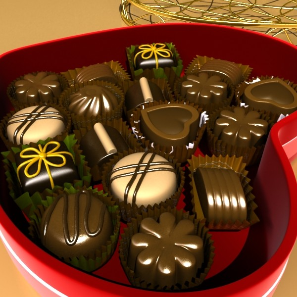 chocolate candy pieces in heart box 8 3d model 3ds max fbx obj 132506