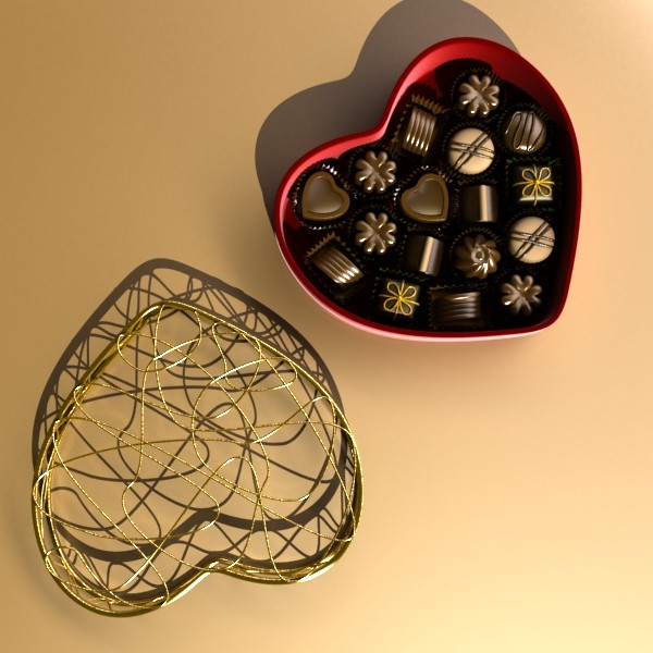 chocolate candy pieces in heart box 8 3d model 3ds max fbx obj 132507