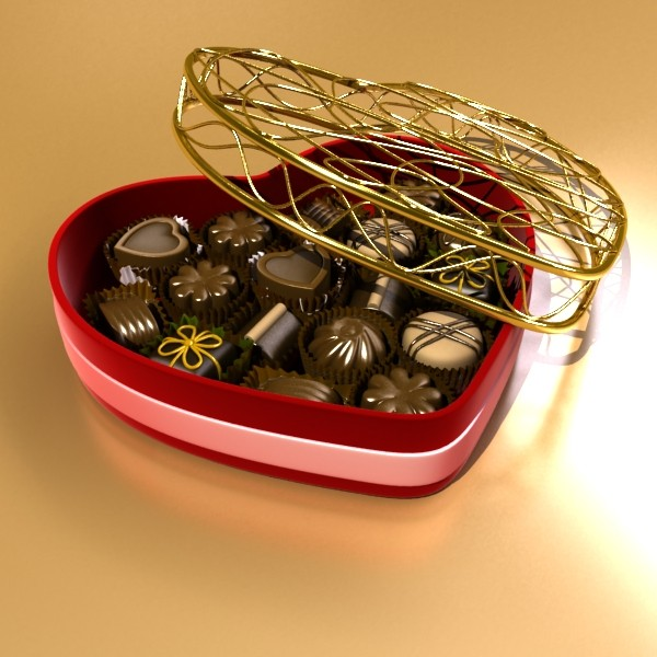 chocolate candy pieces in heart box 8 3d model 3ds max fbx obj 132509