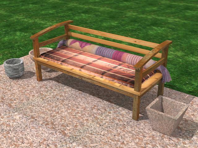 garden wooden sofa 3d model max 113423