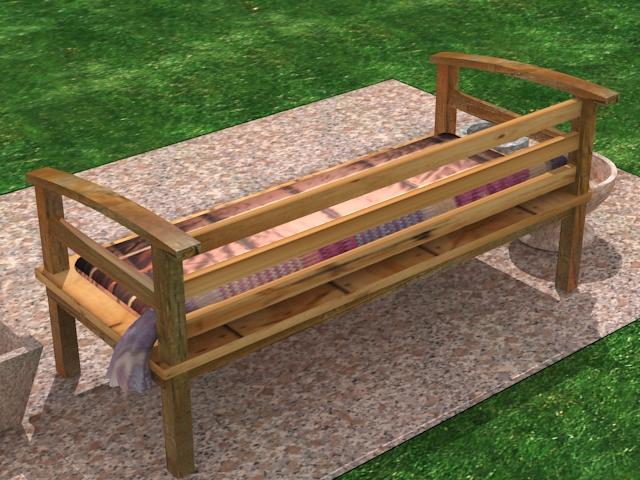 garden wooden sofa 3d model max 113425