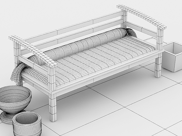 garden wooden sofa 3d model max 113428