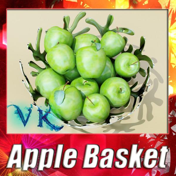 зелени ябълки в декоративна метална купа 3d модел max fbx obj 132707