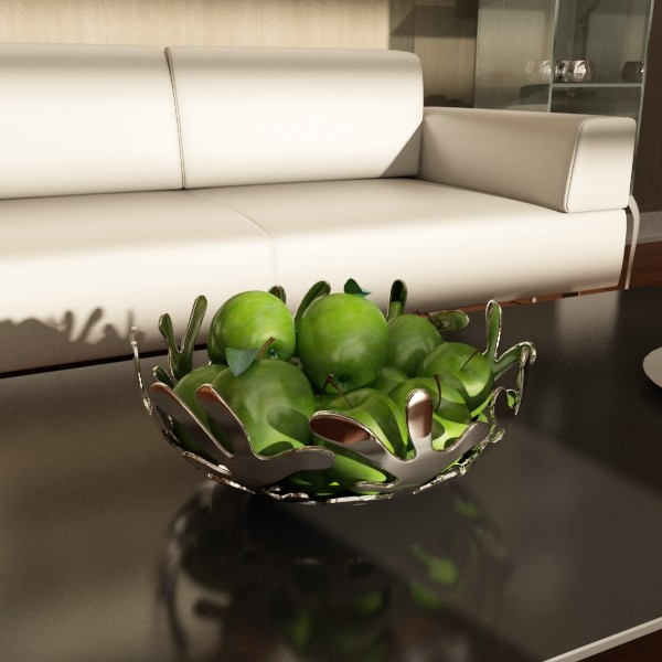 green apples in decorative metal bowl 3d model max fbx obj 132708