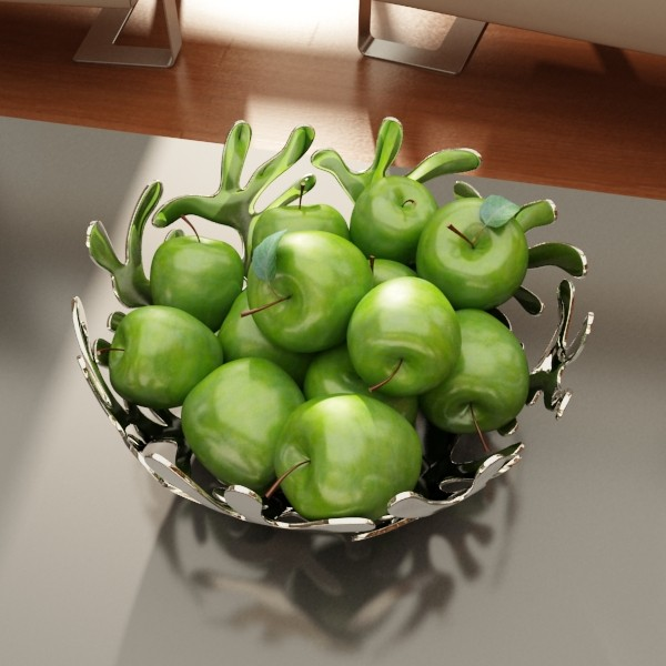 green apples in decorative metal bowl 3d model max fbx obj 132709