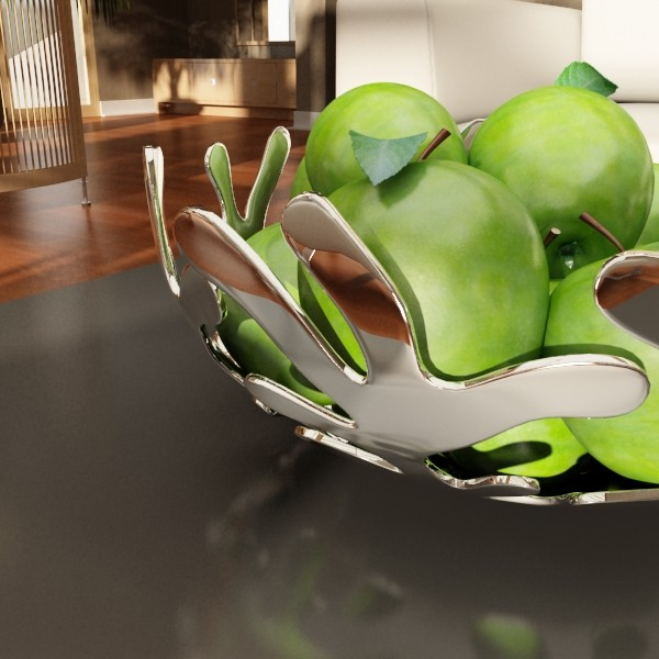 green apples in decorative metal bowl 3d model max fbx obj 132710
