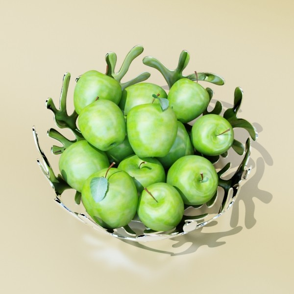 green apples in decorative metal bowl 3d model max fbx obj 132711