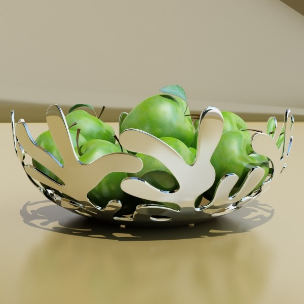 green apples in decorative metal bowl 3d model max fbx obj 132712