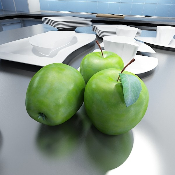 green apples in decorative metal bowl 3d model max fbx obj 132713