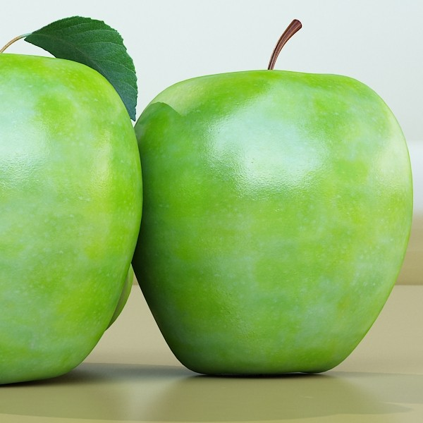 green apples in decorative metal bowl 3d model max fbx obj 132720